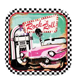 50s Classic Rock n Roll Party Plates - 23cm Paper