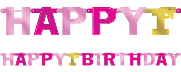 1st Birthday Girl Large Foil Letter Banner