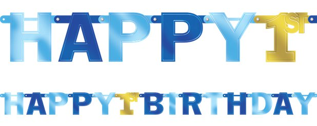 1st Birthday Boy Large Foil Letter Banner