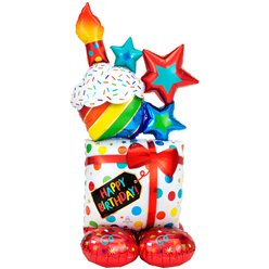 "Colourful Birthday Cluster AirLoonz Balloon - 55"" Foil"