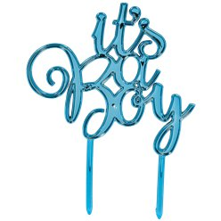 It's A Boy Metallic Blue Baby Shower Cake Topper