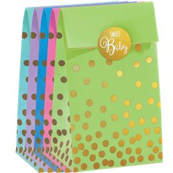 Baby Shower Foil Dot Paper Bags
