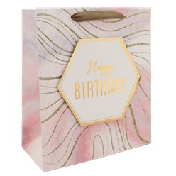 Marble Happy Birthday Large Gift Bag - 33cm