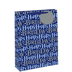 Blue Happy Birthday Glitter Gift Bag - Large