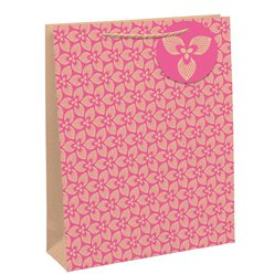 Pink & Brown Kraft Large Gift Bag