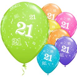 "21st Birthday Multicoloured Balloons - 11"" Latex"