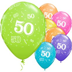 "50th Birthday Multicoloured Balloons - 11"" Latex"
