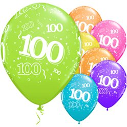 "100th Birthday Multicoloured Balloons - 11"" Latex"