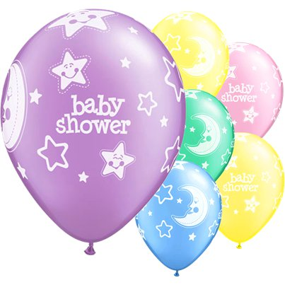 "Baby Shower Moon & Stars Balloons - 11"" Latex"