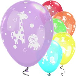 "Cute & Cuddly Jungle Animals Assorted Balloons - 11"" Latex"