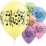 "Music Notes Assorted Balloons - 11"" Latex"