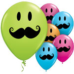 "Smile Face Moustache Balloons - 11"" Latex"