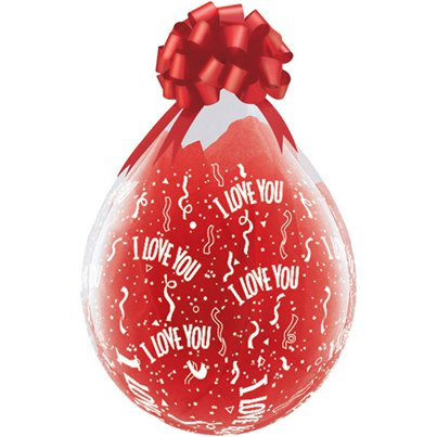 "I Love You Clear Valentines Stuffing Balloon - 18"" Latex"