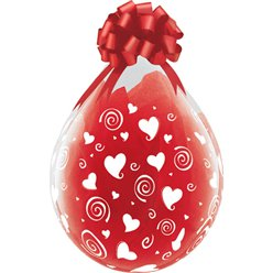 "Swirling Hearts Clear Valentines Stuffing Balloon - 18"" Latex"