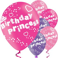"Birthday Princess Balloons - 11"" Latex"