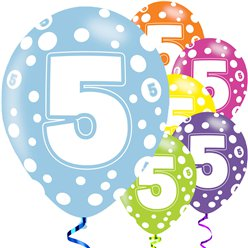 "5th Birthday Assorted Balloons - 11"" Latex"