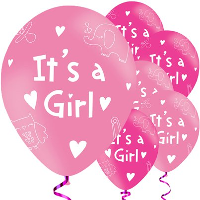"It's A Girl Balloons - 11"" Latex"