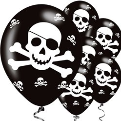 "Pirate Skull & Crossbones Balloons - 11"" Latex"