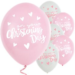 "Pink Christening Day Latex Balloons - 11"" Latex"