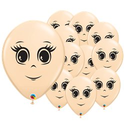 "Blush Female Face Balloons - 5"" Latex"