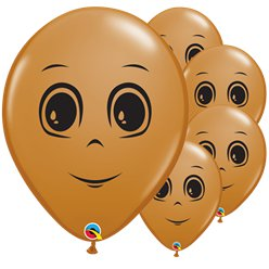 "Mocha Brown Male Face Balloons - 16"" Latex"