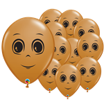 "Mocha Brown Male Face Balloons - 5"" Latex"