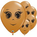 "Mocha Brown Female Face Balloons - 16"" Latex"