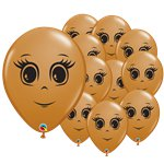 "Mocha Brown Female Face Balloons - 5"" Latex"