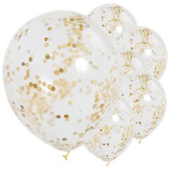 "Gold Confetti Balloons - 12"" Latex"