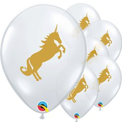 "Golden Unicorn Diamond Clear Balloons - 11"" Latex"