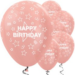 "Happy Birthday Rose Gold Stars Balloon - 12"" Latex"