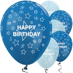 "Happy Birthday Blue Stars Balloons - 12"" Latex"