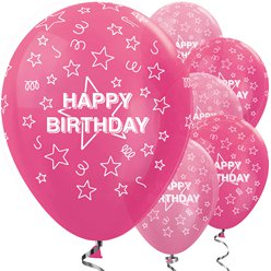 "Happy Birthday Pink Stars Balloons - 12"" Latex"