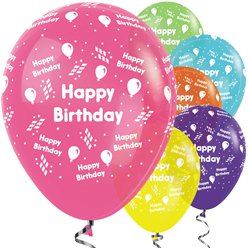 "Happy Birthday Tropical Mix Streamer Balloons - 12"" Latex"