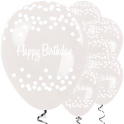 "Happy Birthday Clear Dots Balloons - 12"" Latex"