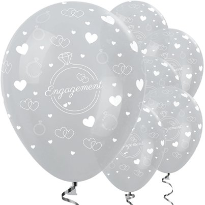 Silver Engagement Balloons - 12 Latex