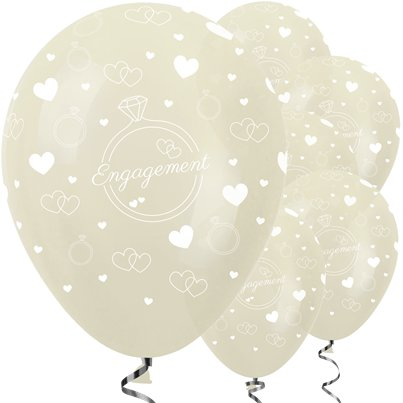 "Ivory Engagement Balloons - 12"" Latex"