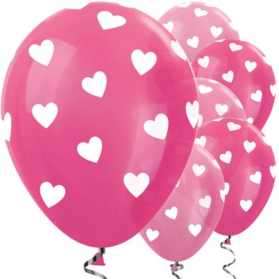 "Pink Mix Hearts Balloons - 12"" Latex"