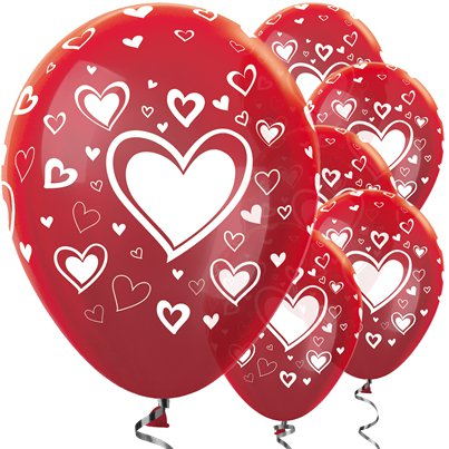 "Metallic Red & White Hearts Balloons - 12"" Latex"