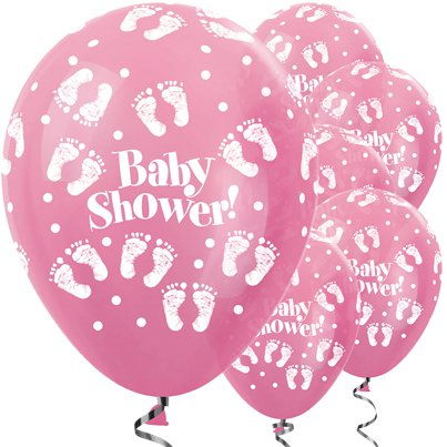 "Satin Pink Baby Shower Balloons - 12"" Latex"