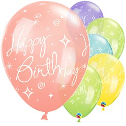 "'Happy Birthday' Sparkles & Swirls Balloons - 11"" Latex"