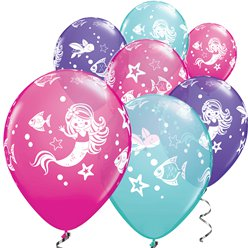 "Mermaid Assorted Blues & Purples Balloons - 11"" Latex"