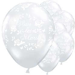 "Vive les Mariés Diamond Clear Roses Balloons - 11"" Latex"