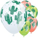 "Cactus Balloons - White, Coral & Lime Green - 11"" Latex"