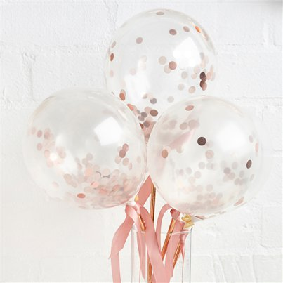 "Rose Gold Mini Confetti Balloon Wands - 5"" Latex"
