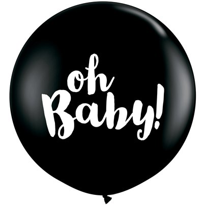 "Black Oh Baby Giant Balloon - 36"" Latex"