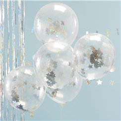 "Holographic Star Confetti Balloons - 12"" Latex"