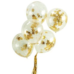"Gold Star Confetti Balloons - 12"" Latex"