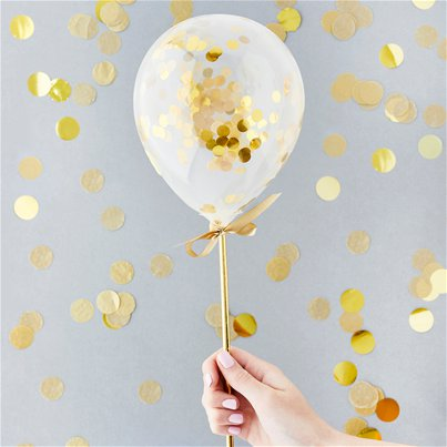 "Gold Mini Confetti Balloon Wands - 5"" Latex"