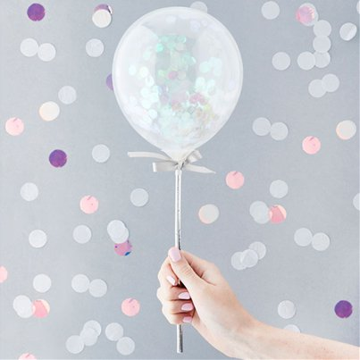 "Iridescent Mini Confetti Balloon Wands - 5"" Latex"